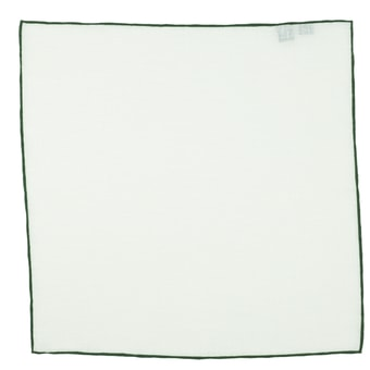 John & Paul White Linen Pocket Square with Dark Green Hem