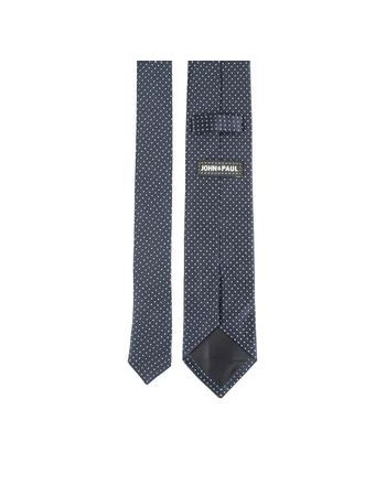 John & Paul Dark Blue Silk Necktie with Dots
