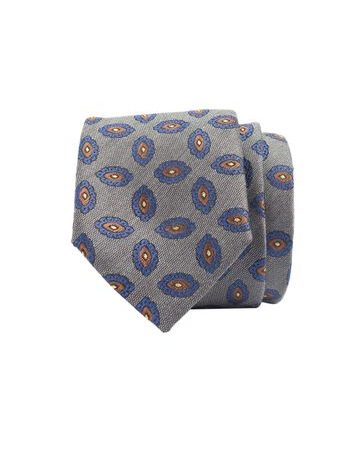 John & Paul Grey Silk and Wool Necktie with Blossoms