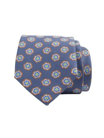 John & Paul Blue Silk Necktie with Matching Blossoms