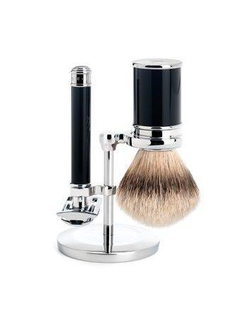 Mühle Traditional Black Shaving Set - Closed-Comb Safety Razor, Silvertip Shaving Brush, Stand