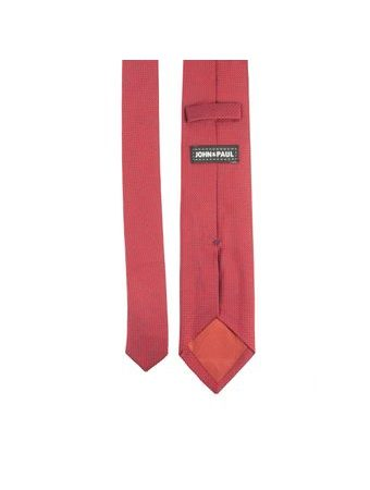 John & Paul Red Silk Necktie with Knitted Pattern