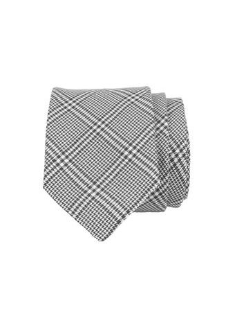 John & Paul Black & White Silk Patterned Necktie