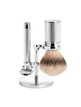 Mühle Traditional Chrome-Plated Shaving Set - Closed-Comb Safety Razor, Silvertip Shaving Brush, Stand