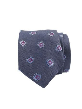 John & Paul Blue Silk Necktie with Purple Blossoms