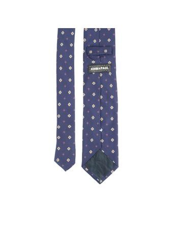 John & Paul Dark Blue Silk Necktie with Blossoms