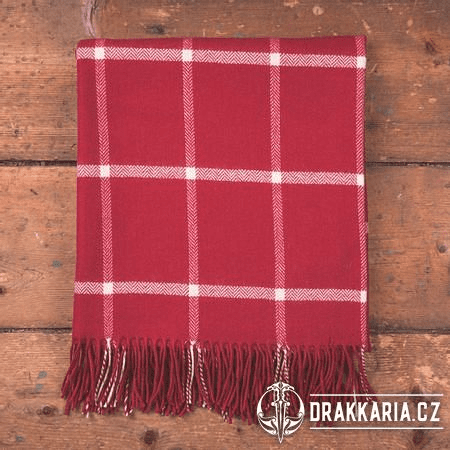 RED & WHITE WINDOWPANE THROW, LUXUSNÍ VLNĚNÁ DEKA, IRSKO