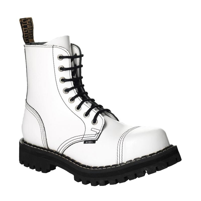 Steel Schuhe Loch Weiß 8 Lederstiefel QthosrxdCB