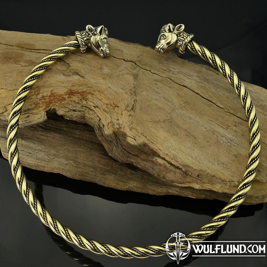 celtic stylized dragon heads golden torc