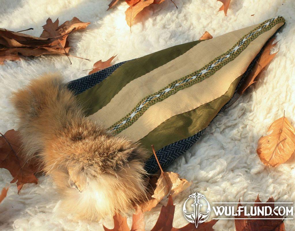Birka cap purple wool with white fox fur Early medieval Viking hat