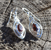 EARRINGS WITH FACETED GARNET, STERLING SILVER - MYSTICA SILVER COLLECTION - EARRINGS