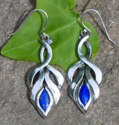 COLLEEN, EARRINGS, LAPIS LAZULI, SILVER - EARRINGS WITH GEMSTONES, SILVER