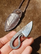 NECK KNIFE WITH LEATHER SHEATH, FORGED - KNIVES