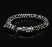 DREKI, VIKING DRAGON, STERLING SILVER BRACELET - VIKING KNIT - PENDANTS - HISTORICAL JEWELRY
