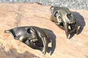 SMILODON, SABERTOOTH TIGER SKULL PENDANT, MASSIVE JEWEL, TIN, BRASS COLOUR - METAL MUSIC JEWELS