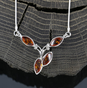 FLORA, AMBER, NECKLACE, STERLING SILVER - AMBER JEWELRY