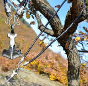 BIFRÖST, FORGED THOR'S HAMMER, LEATHER NECKLACE - BOLO - VIKING PENDANTS