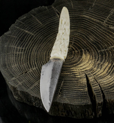 JOKUL, HAND FORGED KNIFE, CARVED ANTLER - KNIVES