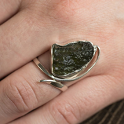 NATURAL MOLDAVIT, RING, SILVER 925 - MOLDAVITES, CZECH JEWELS