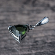 TRIANGULAR, SILVER PENDANT WITH MOLDAVITE, AG 925 - MOLDAVITES, CZECH JEWELS