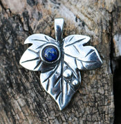 IVY LEAF SILVER PENDANT LAPIS - PENDANTS WITH GEMSTONES, SILVER