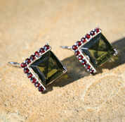 SLAVKA, SILVER EARRINGS, MOLDAVITE, GARNET - MOLDAVITES, CZECH JEWELS