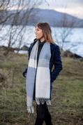 WHITE, UNIFORM AND JEANS MIX STRIPE SCARF, LAMBSWOOL - COUVERTURES ET CHÂLES EN LAINE D'IRLANDE