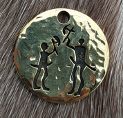 AXEMEN, WARRIOR PENDANT, TANUM PETROGLYPH, BRASS - PENDANTS, NECKLACES