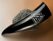 VALKNUT, CARVED DRINKING HORN - DRINKING HORNS