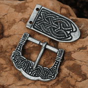 VIKING BUCKLE AND STRAP END, GOKSTAD, ZINC, REPLICA - BELT ACCESSORIES