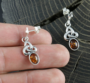CELTICA, AMBER, EARRINGS, STERLING SILVER - AMBER JEWELRY