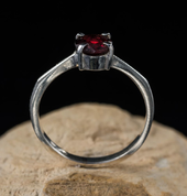 OCULAR, STERLING SILVER RING WITH GARNET - RINGS WITH GEMSTONES, SILVER