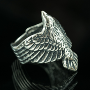 CORVUS, RAVEN, SILVER RING - RINGS - HISTORICAL JEWELRY
