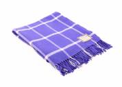 PURPLE AND WHITE WINDOWPANE THROW, FOXFORD IRELAND - WOOLEN BLANKETS AND SCARVES, IRELAND