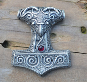 THOR'S HAMMER - MJÖLNIR, SCANIA, SWEDEN, SILVERED TIN, GARNET - VIKING PENDANTS