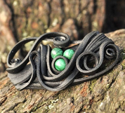 MALACHITE BROOCH - 3 STONES - FANTASY JEWELS