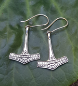 THOR'S HAMMER, SILVER EARRINGS - EARRINGS - HISTORICAL JEWELRY