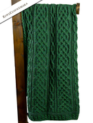 PLAITED MERINO CELTIC BLANKET, GREEN - WOOLEN BLANKETS AND SCARVES, IRELAND