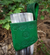 LEAF, LEATHER DRINKING HORN HOLDER, GREEN - DRINKING HORNS