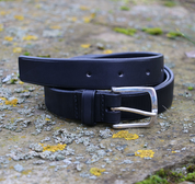 LORIC, LUXURY LEATHER BELT WITH SILVER BUCKLE - BELTS
