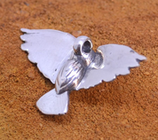 ATHENE NOCTUA, STERLING SILVER LITTLE OWL PENDANT, SMALL - MYSTICA SILVER COLLECTION - PENDANTS