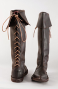 GOTHIC SHOES, LACE-UP, HIGH, BROWN - GOTHIC BOOTS