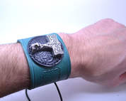 VIKING LEATHER BRACELET, THOR'S HAMMER OSEBERG - WRISTBANDS