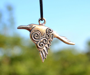 CORVUS - CELTIC CROW PENDANT, BRONZE - BRONZE HISTORICAL JEWELS
