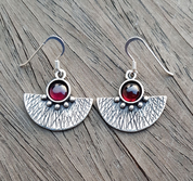 AZTEC, SILVER EARRINGS, GARNET - EARRINGS WITH GEMSTONES, SILVER