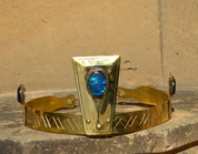 MAGNUS, NOBLE MEDIEVAL BRASS CROWN, PAUA SHELL - TIARAS, CROWNS