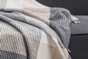 GREY, BONE & WHITE LARGE BLOCK THROW, CASHMERE, LAMBSWOOL - WOOLEN BLANKETS AND SCARVES, IRELAND