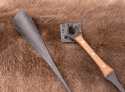 SHOEHORN, IRON, WOODEN HANDLE, WITH HOOK - FORGED PRODUCTS