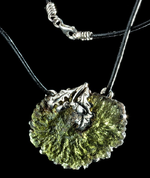 QUERCUS, OAK LEAF, NECKLACE, MOLDAVIT SILVER - MOLDAVITES, CZECH JEWELS