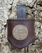 CERNUNNOS, LEATHER DRINKING HORN HOLDER, BROWN - DRINKING HORNS